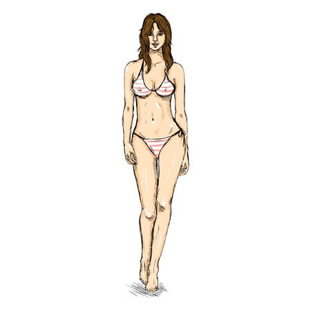 bikini model: Vector Single Sketch Illustration -  Fashion Female Model in Bikini