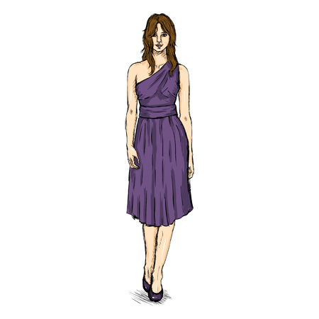 Vector Sketch Fashion Female Model in Dress