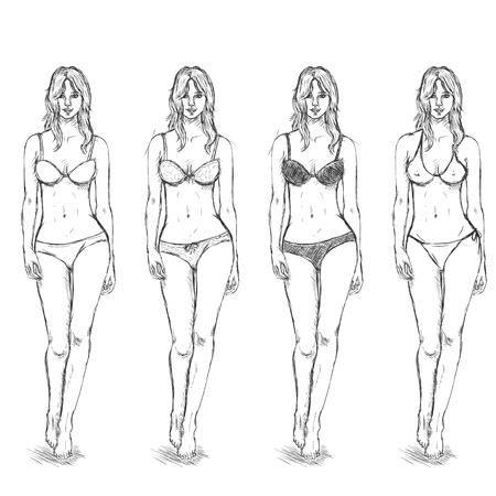 women body: Vector Set of Sketch Female Fashion Models