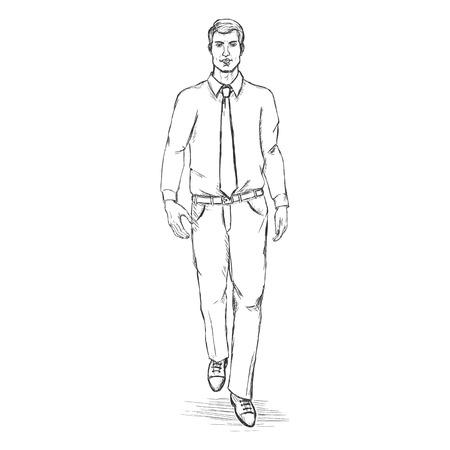 he is beautiful: Vector Sketch Men Model in Shirt with Tie.Business dress code. Illustration