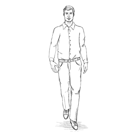 he is beautiful: Vector Sketch Men Model in Shirt and Trousers.Business dress code. Illustration