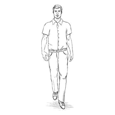 he is beautiful: Vector Sketch Men Model in Shortslive Shirt. Business dress code.