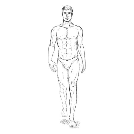 he is beautiful: Vector Single Sketch Illustration -  Fashion Male Model in Underwear