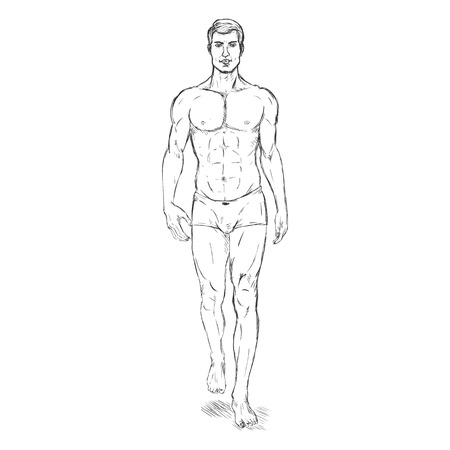 Vector Single Sketch Illustration -  Fashion Male Model in Underwear