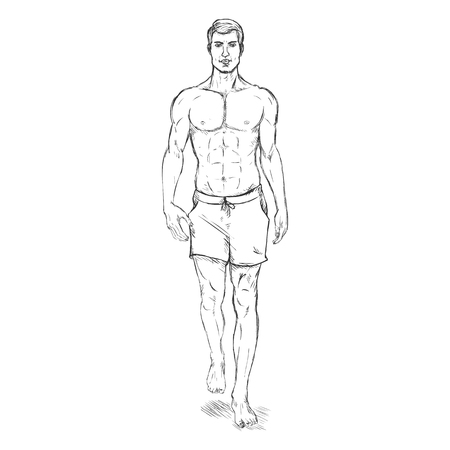 he is beautiful: Vector Single Sketch Illustration -  Fashion Male Model in Beach Shorts
