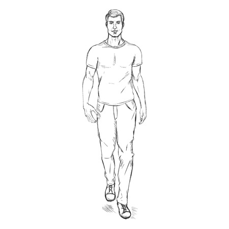 male model: Vector Single Sketch Illustration -  Fashion Male Model in Trousers and T-Shirt