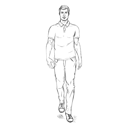 he is beautiful: Vector Single Sketch Illustration -  Fashion Male Model in Trousers and Polo Shirt Illustration