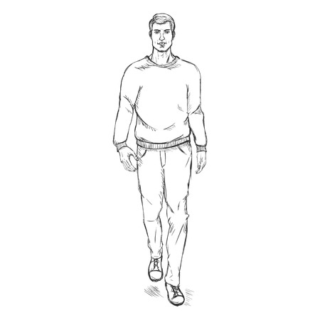 male model: Vector Single Sketch Illustration -  Fashion Male Model in Trousers and Sweatshirt