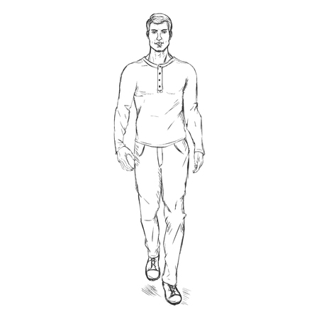 male model: Vector Single Sketch Illustration - Fashion Male Model in Trousers and Longsleeve Shirt Illustration