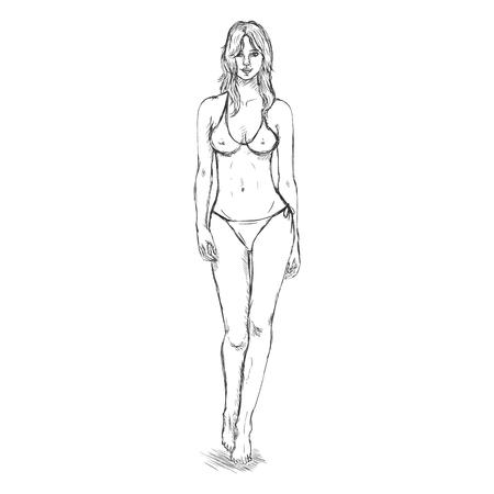 underclothes: Vector Single Sketch Illustration -  Fashion Female Model in Bikini