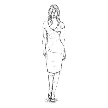 women body: Vector Single Sketch Illustration -  Fashion Female Model in Dress