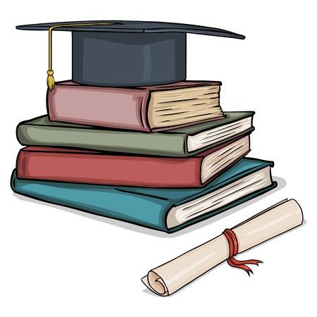 Vector de la historieta del sombrero Académica en la pila de libros y diploma en el fondo blanco