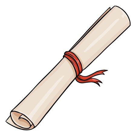 Vector Cartoon Scroll with Red Ribbon on White Background