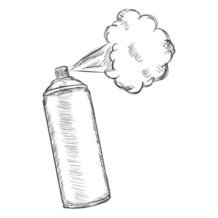 aerosol: Vector Cartoon Aerosol Spray with Paint on White Background