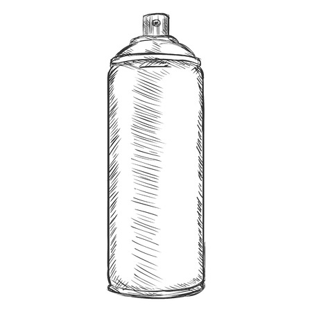 paint can: Vector Cartoon Aerosol Spray with Paint on White Background