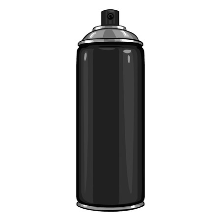 paint container: Vector Cartoon Aerosol Spray with Paint on White Background