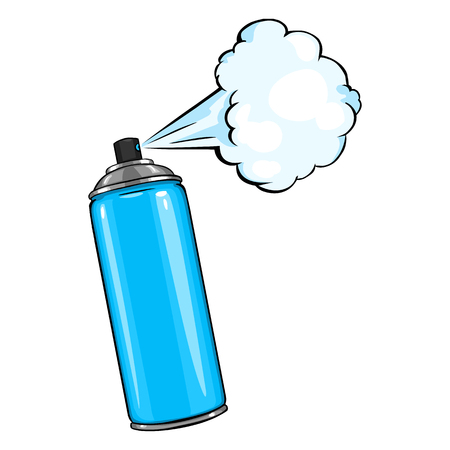 Vector Cartoon Aerosol Spray with Paint on White Background