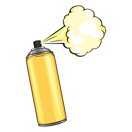 aerosol: Vector Cartoon Aerosol Spray with Paint on White Background