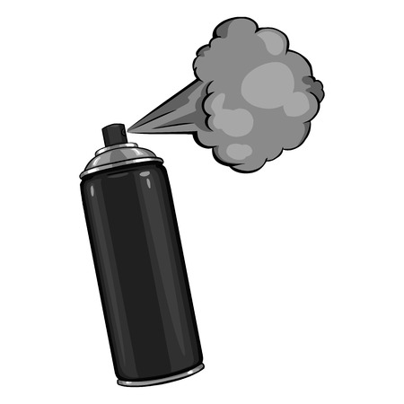 Vector Cartoon Aerosol Spray with Paint on White Background