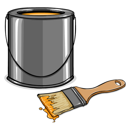 Vector Cartoon Paint Can and Brush on White Background Illustration
