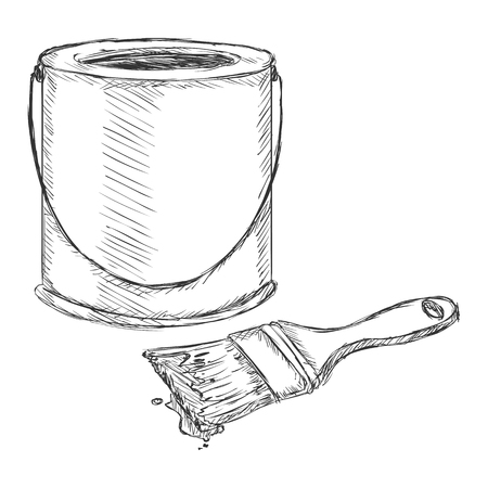 paint can: Vector Sketch Paint Can and Brush on White Background