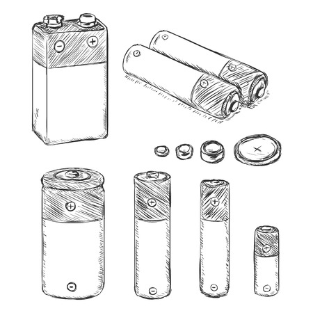 li: Vector Set of Sketch Batteries. Types of Batteries on White Background