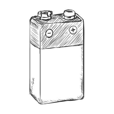 9v battery: Vector Sketch 9v Krona Battery on White Background