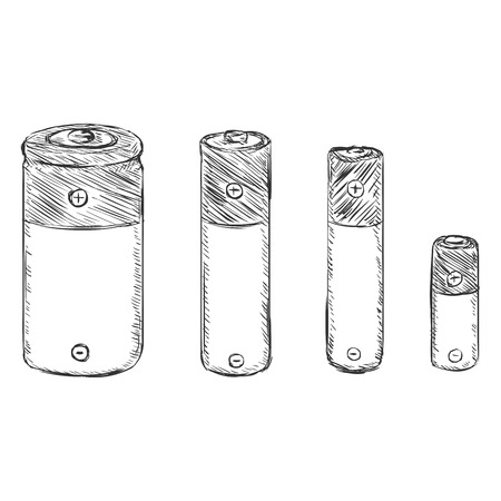 amperage: Vector Set of Sketch Batteries - C, AA, AAA, A23 on White Background Illustration