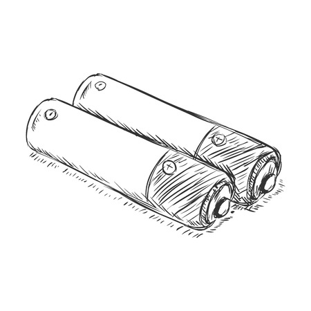 electrolyte: Vector Sketch Couple of Penlight Batteries on White Background