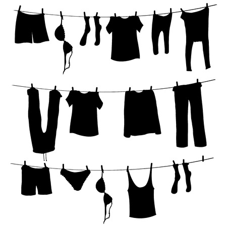 Vector Silhouettes of Laundry on a Rope on White Background Illustration