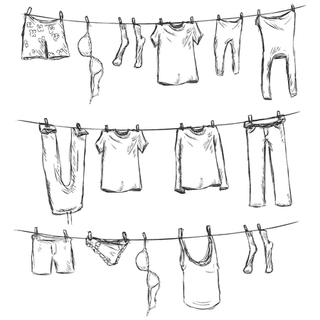 Vector Sketch of Laundry on a Rope on White Background