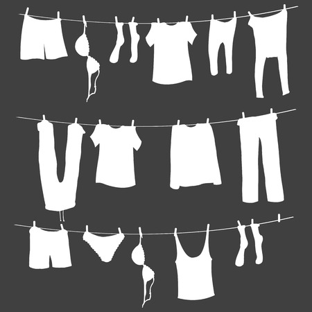 Vector  White Silhouettes of Laundry on a Rope Çizim