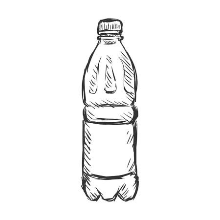 Bottiglia di vettore singolo Sketch di plastica di acqua su sfondo bianco Vettoriali