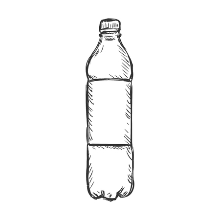 Vector Single Sketch Plastic Bottle of Water on White Background