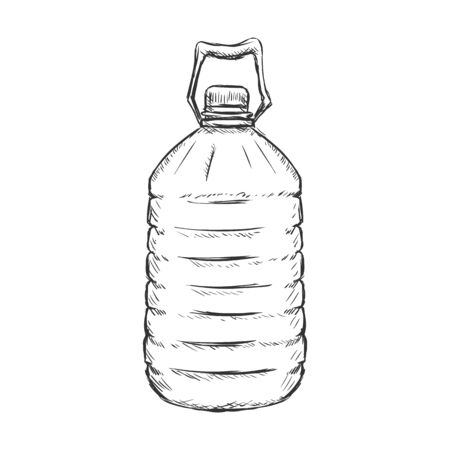 single sketch: Vector Single Sketch Plastic Bottle of Water on White Background