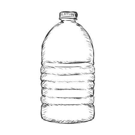 plastic bottle: Vector Single Sketch Plastic Bottle of Water on White Background