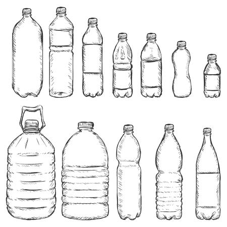 Vector Set de bouteilles en plastique Sketch sur fond blanc