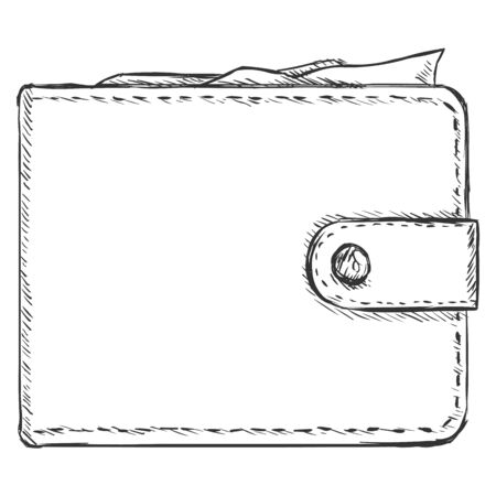 clench: Vector Single Sketch Wallet on White Background Illustration