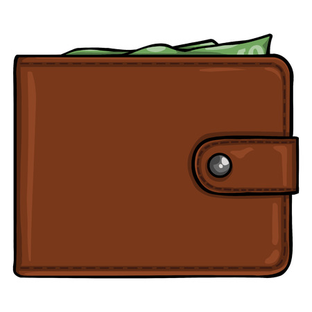 clench: Vector Single Cartoon Wallet on White Background Illustration