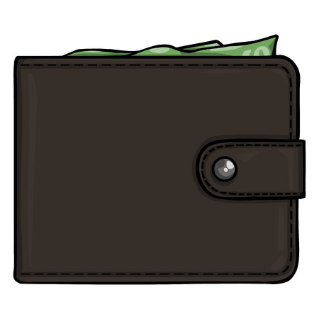 tangible: Vector Single Cartoon Wallet on White Background Illustration