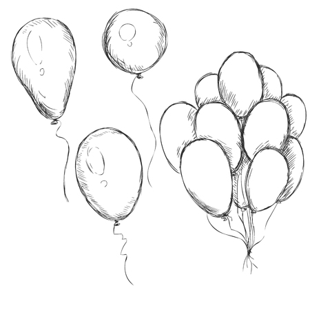 Vector Set of Sketch Balloons on White Background Ilustração
