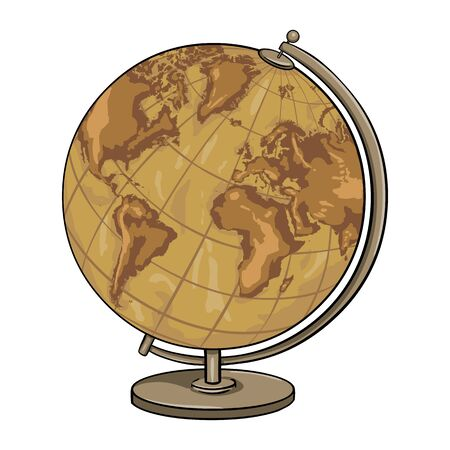 geographical: Vector Cartoon Old Antique Geographical Globe on White Background