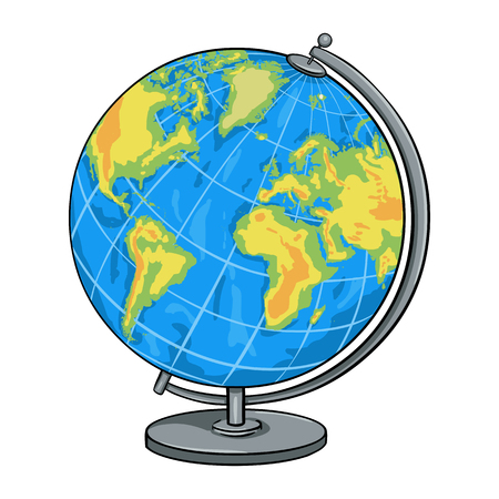 Vector Cartoon School Geographical Globe on White Background