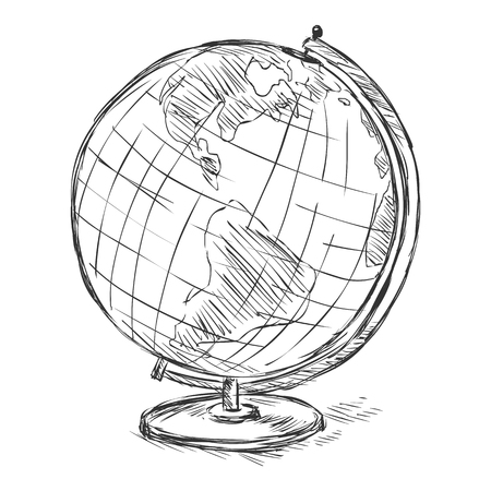 Vector Sketch School Geographical Globe on White Background
