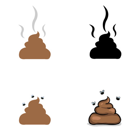 vector set of shit: icon and illustration on white background Ilustração