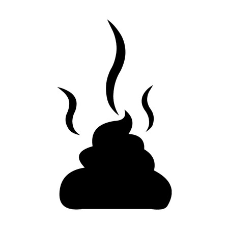 dung: Vector Black Silhouette of Shit on white background