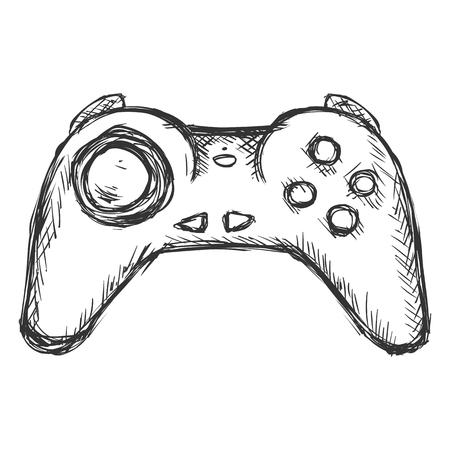 Vector Single Sketch Wireless Joystick on white background
