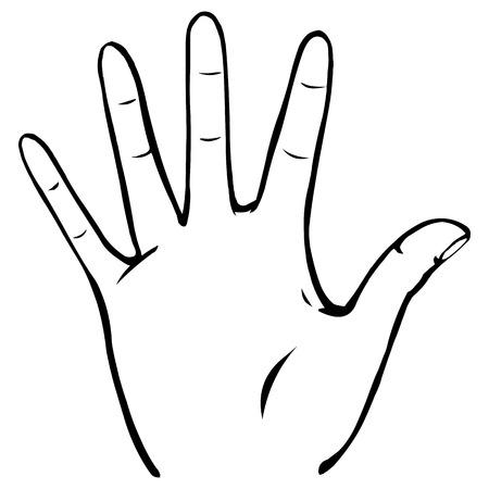 handbreadth: Vector Line Art Palmwith Fingers Spread