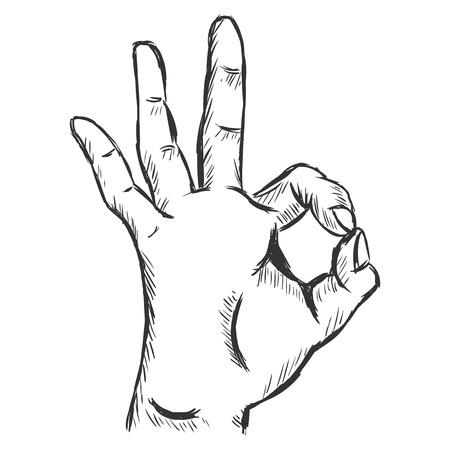 all ok: Vector Sketch Ok Gesture Illustration