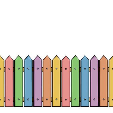 vector seamless cartoon colorful fence Illustration